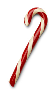 Red And White Christmas Candycane Isolated on White Background.