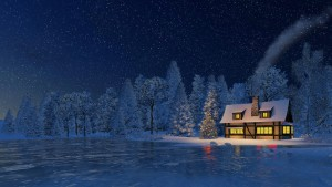 Christmas night scene. Snowbound cozy rustic house with smoking chimney and luminous windows and decorated Christmas tree at snowfall night. Decorative 3D illustration.
