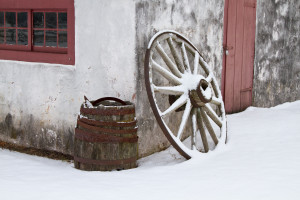 Wagon wheel & barrel outside an old blacksmith's shop at Hopewell Furnace National Historic Site